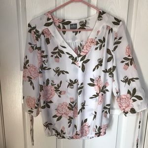 New York & Company white blouse with peonies